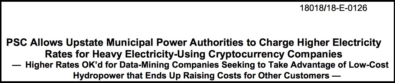 New York Power Companies Can Now Raise Rates for Bitcoin Miners