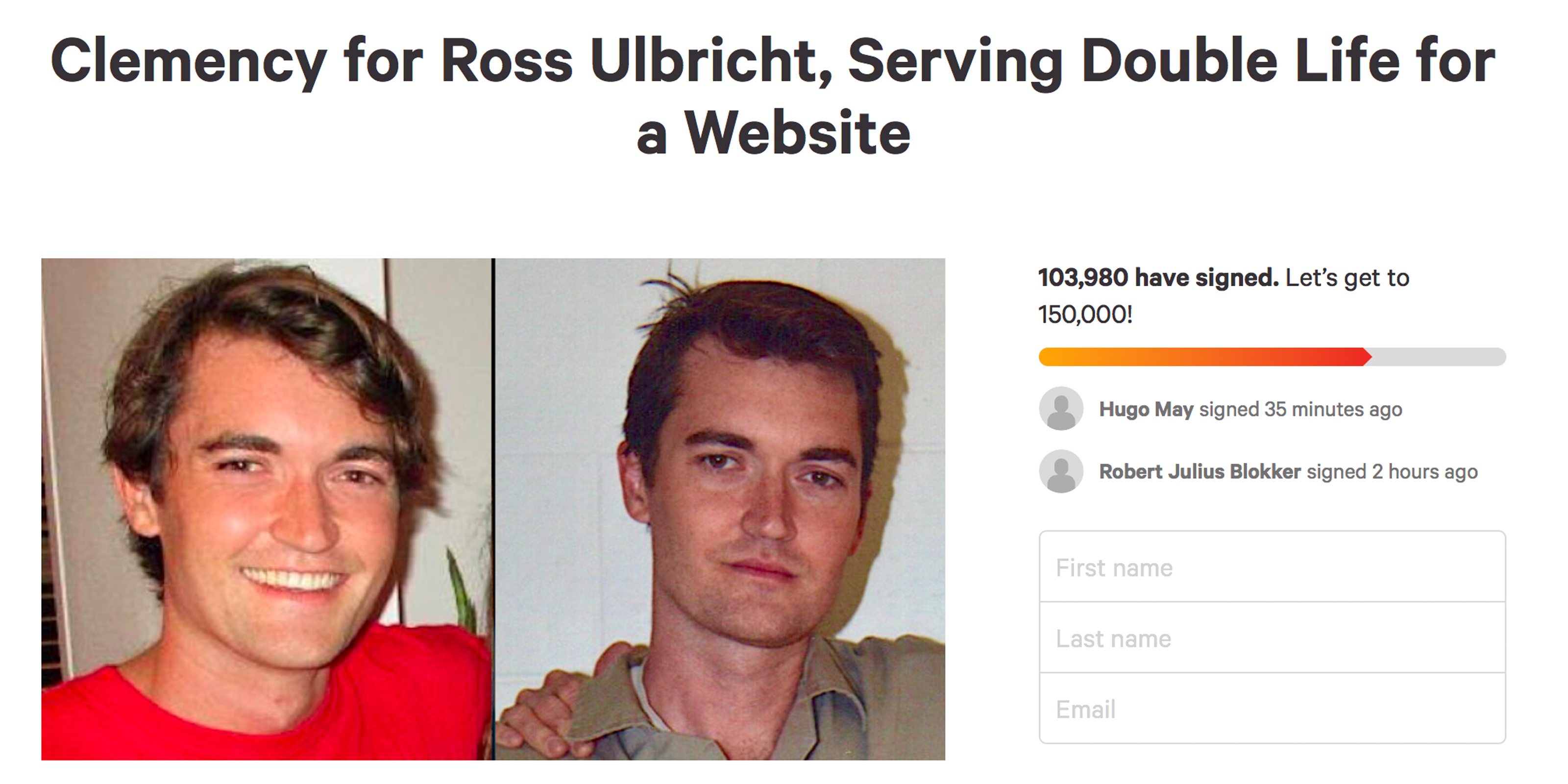 Petition to Free Ross Ulbricht Gathers 100,000 Signatures